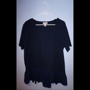 Navy Loft short sleeve blouse